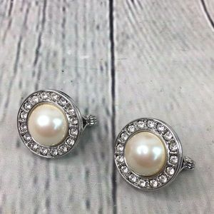 Monet round faux pearl rhinestone clip on earring